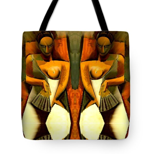 Woman With A Fan X4 Tote Bag