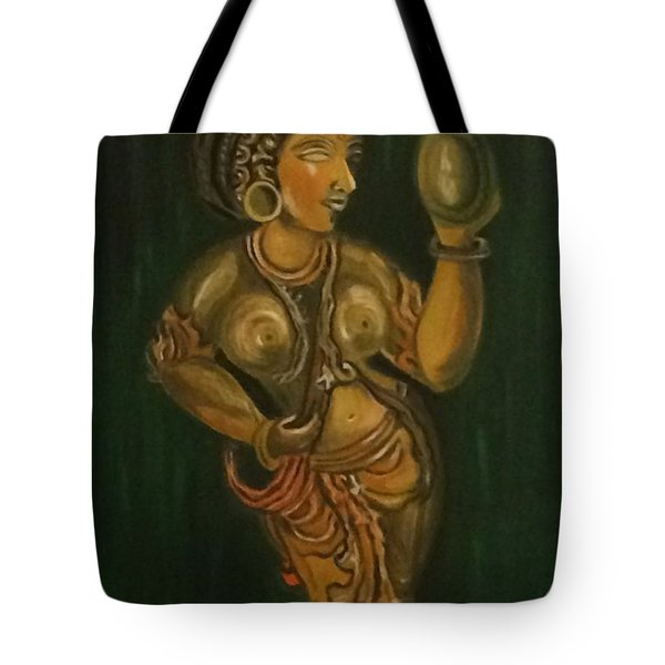 Woman With A Mirror Sculpture Tote Bag