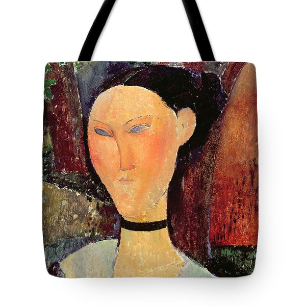Woman With A Velvet Neckband Tote Bag by Amedeo Modigliani