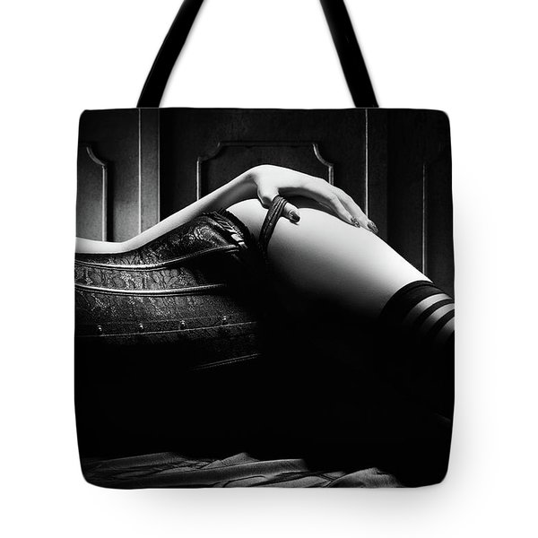 Woman With Black Corset Tote Bag