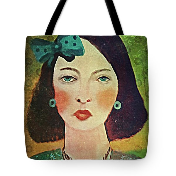 Tote Bag featuring the digital art Woman With Blue Hair Bow by Alexis Rotella