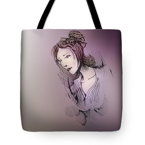 Tote Bag featuring the drawing Woman With Chopsticks In Her Hair by Keith A Link