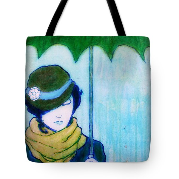 Tote Bag featuring the painting Woman With Green Umbrella by Bob Baker