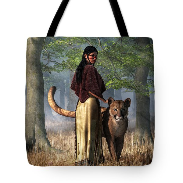 Tote Bag featuring the digital art Woman With Mountain Lion by Daniel Eskridge