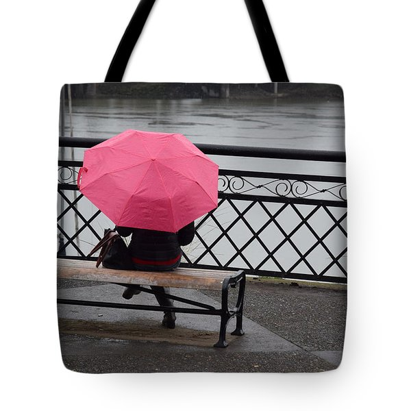 Woman With Pink Umbrella. Tote Bag