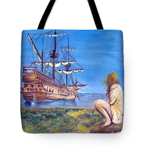 Woman With Spanish Ship Tote Bag