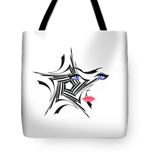 Woman With Star Design Tote Bag