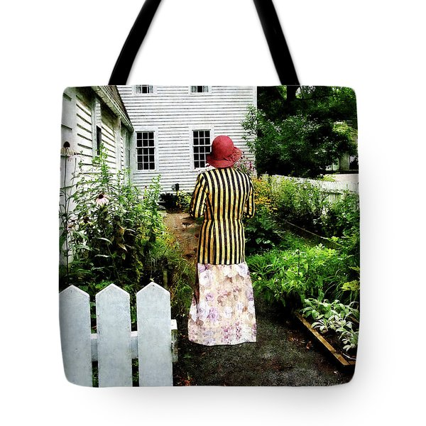 Woman With Striped Jacket And Flowered Skirt Tote Bag by Susan Savad