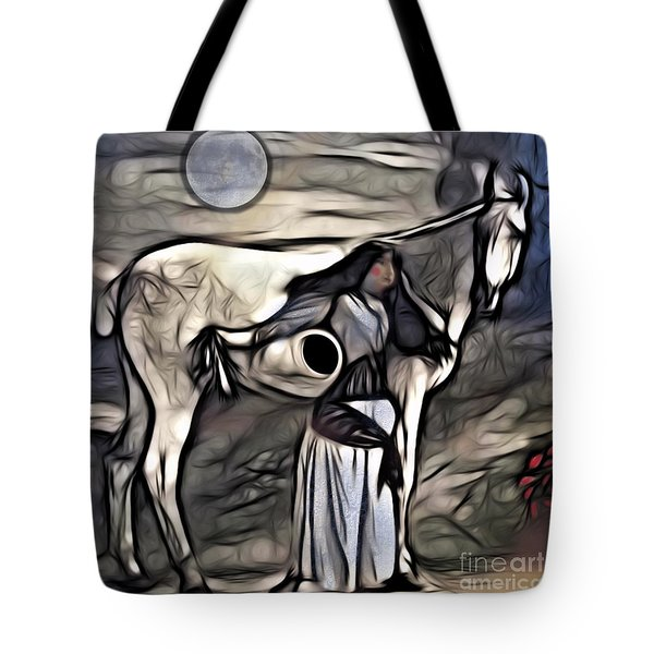 Tote Bag featuring the digital art Woman With White Horse by Alexis Rotella