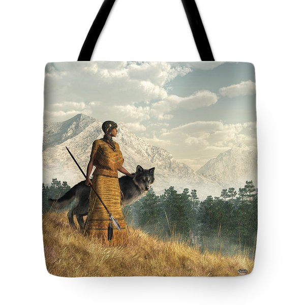 Woman With Wolf Tote Bag by Daniel Eskridge