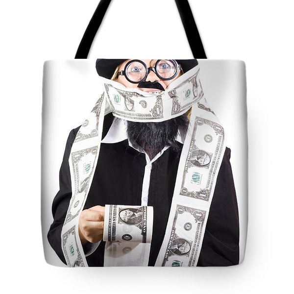 Woman Wrapped In Money Tote Bag