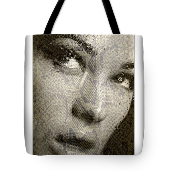 Womans Face With Water And Snake Texture Tote Bag