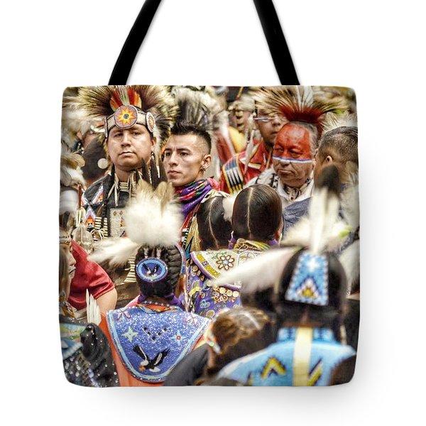 Women And Men Meet Tote Bag by Clarice Lakota