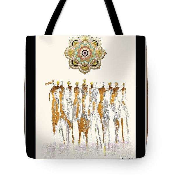 Women Chanting Mandala Tote Bag
