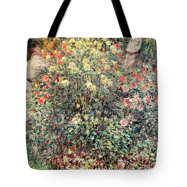 Women In The Flowers Tote Bag by Claude Monet