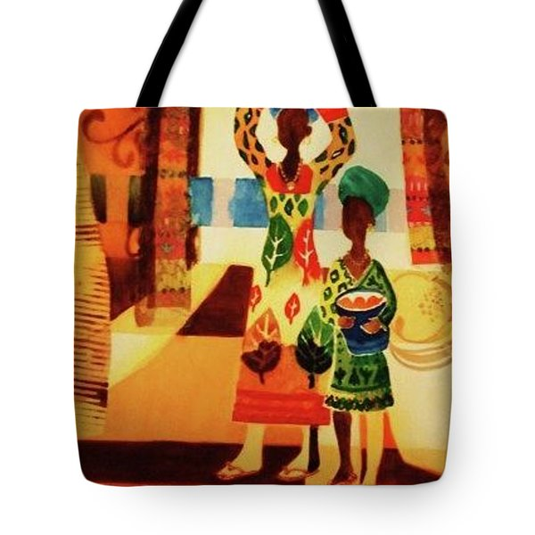 Women With Baskets Tote Bag by Marilyn Jacobson