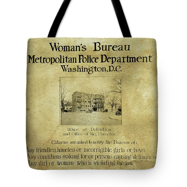 Women's Bureau House Of Detention Poster 1921 Tote Bag