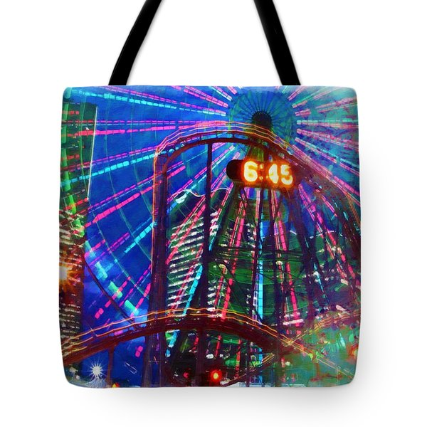 Wonder Wheel At The Coney Island Amusement Park Tote Bag by Lanjee Chee