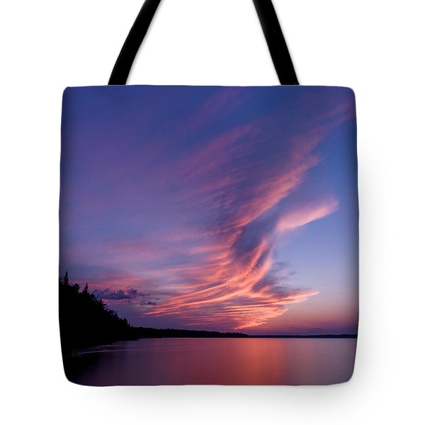 Tote Bag featuring the photograph Wonderful Skeleton Lake Sunset by Darcy Michaelchuk