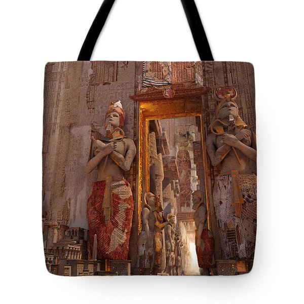 Tote Bag featuring the digital art Wonders Door To The Luxor by Te Hu