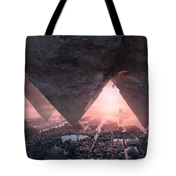 Tote Bag featuring the digital art wonders great pyrimaid of Giza by Te Hu