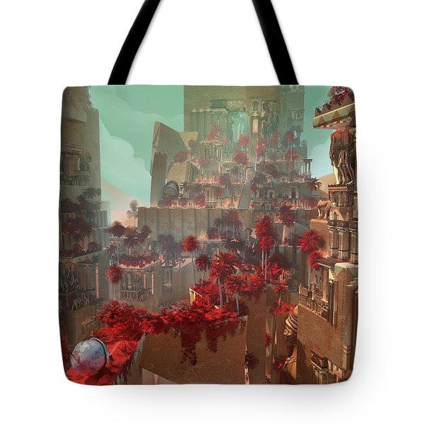 Tote Bag featuring the digital art Wonders Hanging Garden Of Babylon by Te Hu