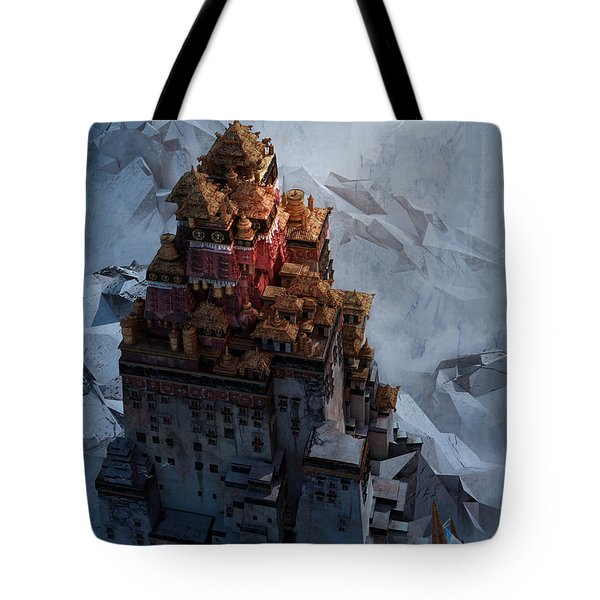 Tote Bag featuring the digital art Wonders Holy Temple by Te Hu