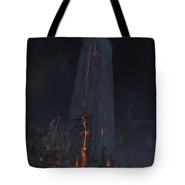 Tote Bag featuring the digital art Wonders Lighthouse Of Alxendria by Te Hu