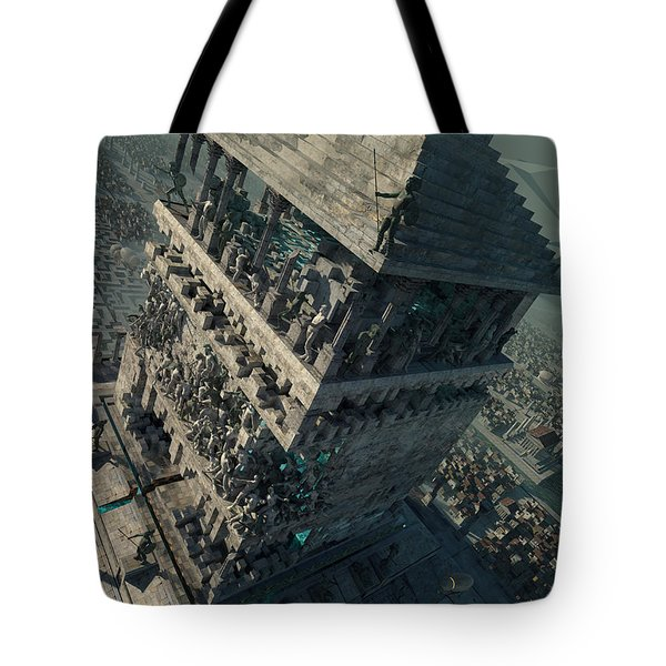 Tote Bag featuring the digital art wonders Mausoleum at Halicarnassus by Te Hu