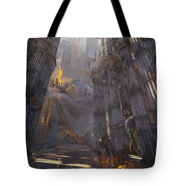 Tote Bag featuring the digital art Wonders Temple Of Zeus by Te Hu