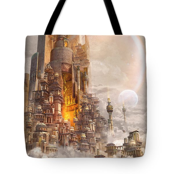 Tote Bag featuring the digital art Wonders Tower Of Babylon by Te Hu