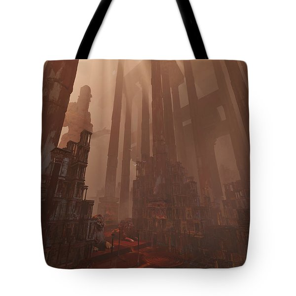 Tote Bag featuring the digital art Wonders_temple Of Artmeis by Te Hu
