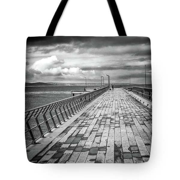 Tote Bag featuring the photograph Wood And Pier by Perry Webster