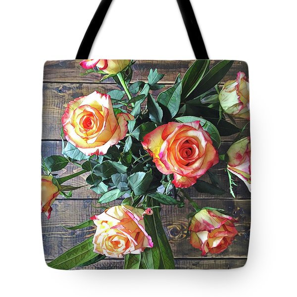 Wood And Roses Tote Bag