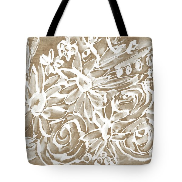 Wood And White Floral- Art By Linda Woods Tote Bag by Linda Woods