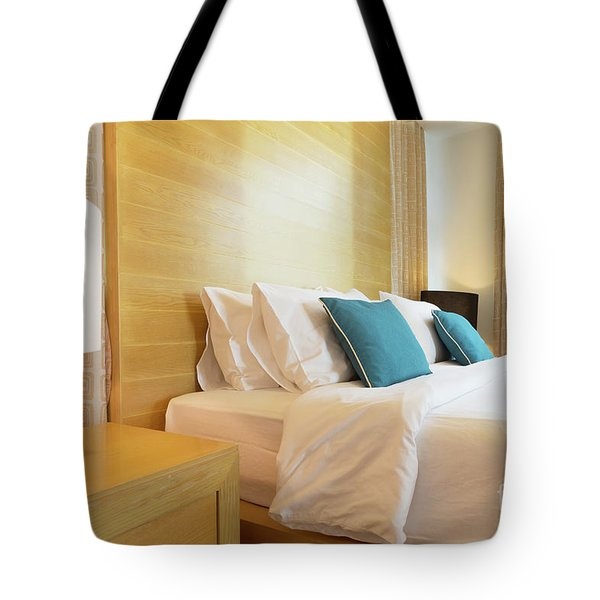 Tote Bag featuring the photograph Wood Bed by Atiketta Sangasaeng