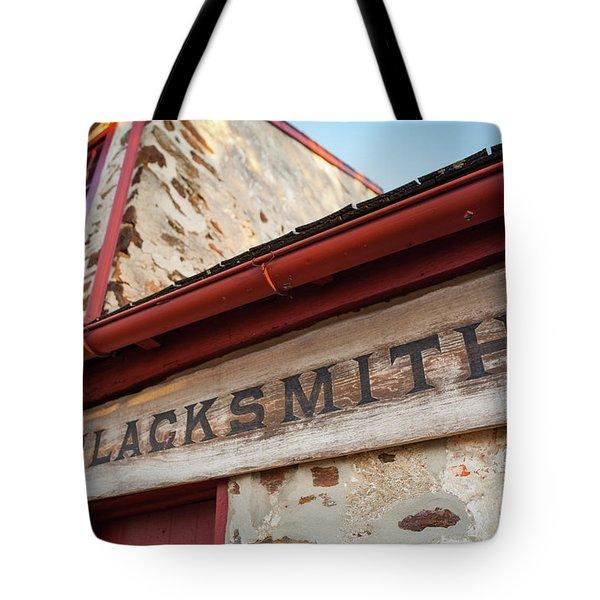 Wood Blacksmith Sign On Building Tote Bag