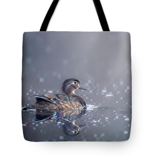 Tote Bag featuring the photograph Wood Duck Hen by Bill Wakeley
