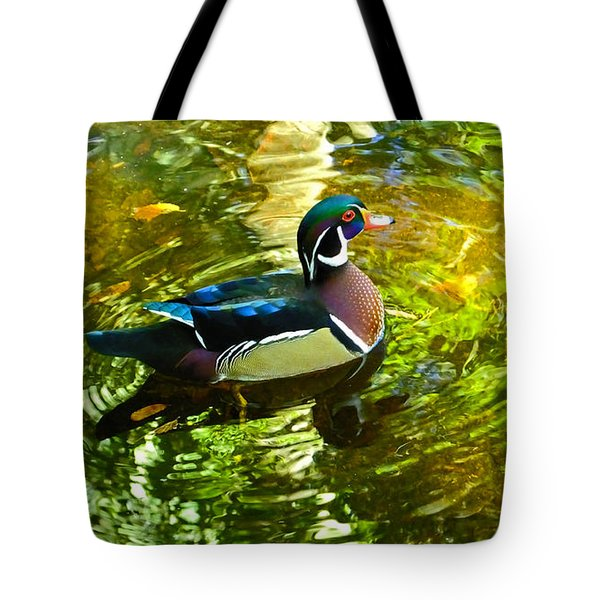 Wood Duck In Lights Tote Bag by Judy Wanamaker