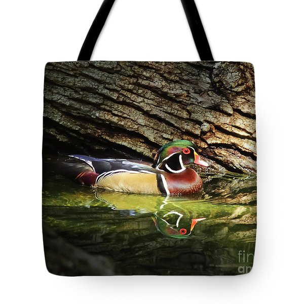 Wood Duck In Wood Tote Bag