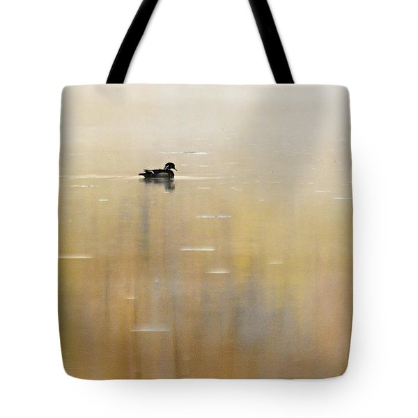 Tote Bag featuring the photograph Wood Duck On Golden Pond by Larry Ricker