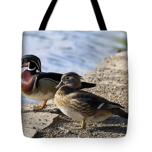 Wood Duck Pair By The Lake Tote Bag by David Gn