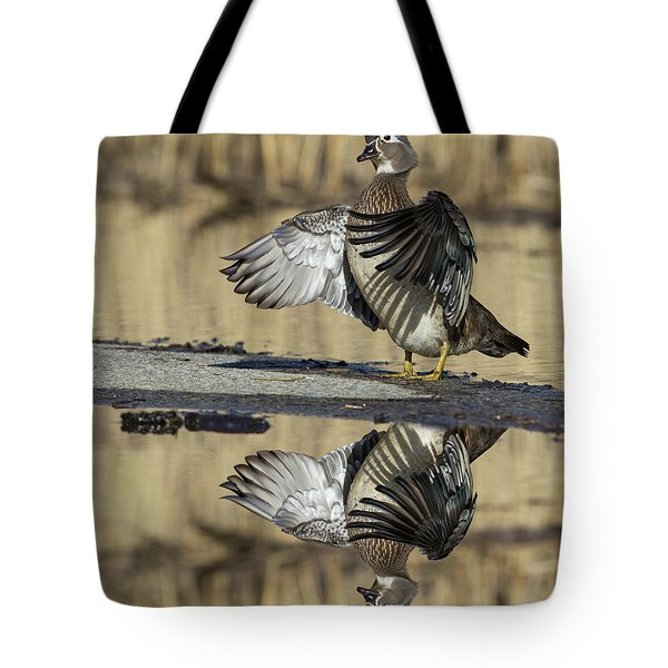 Tote Bag featuring the photograph Wood Duck Reflection by Mircea Costina Photography