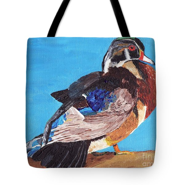 Tote Bag featuring the painting Wood Duck by Rodney Campbell