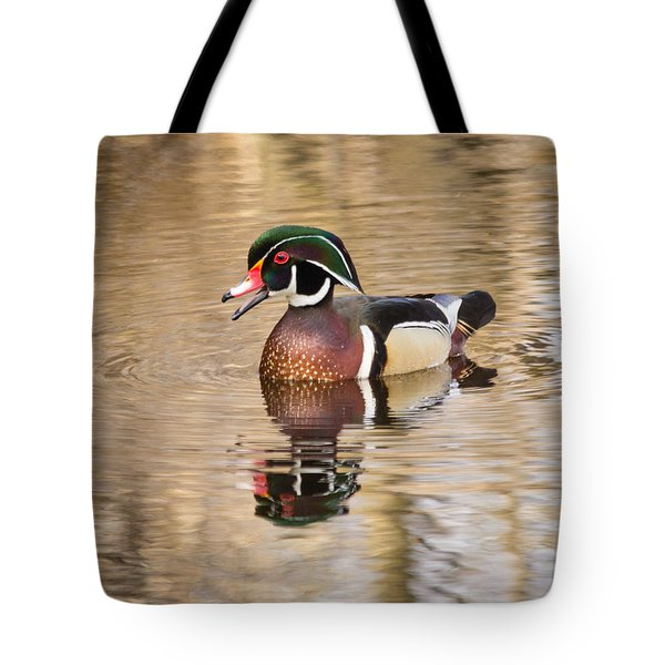 Wood Duck With Reflection Tote Bag