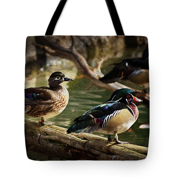 Tote Bag featuring the photograph Wood Ducks Posing On A Log by Dennis Dame