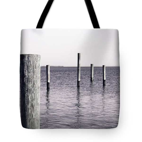 Tote Bag featuring the photograph Wood Pilings In Monotone by Colleen Kammerer