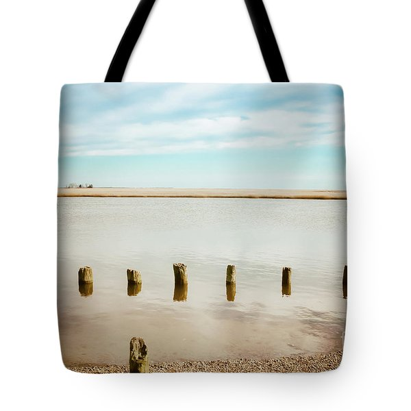Tote Bag featuring the photograph Wood Pilings In Shallow Waters by Colleen Kammerer