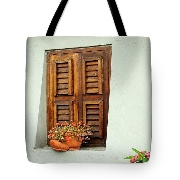 Tote Bag featuring the photograph Wood Shuttered Window, Island Of Curacao by Kurt Van Wagner