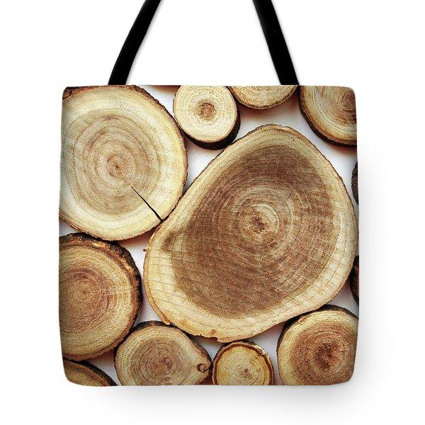 Wood Slices- Art By Linda Woods Tote Bag by Linda Woods